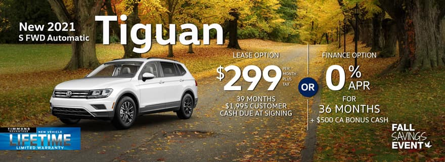 Special Lease on a 2021 Tiguan S at Timmons Long Beach