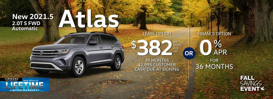 Special lease offer on 2021.5 Atlas at Timmons Volkswagen Long Beach