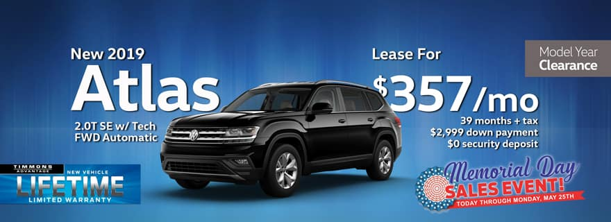 Special Memorial Day Holiday lease offer on 2019 Atlas at Timmons Volkswagen Long Beach