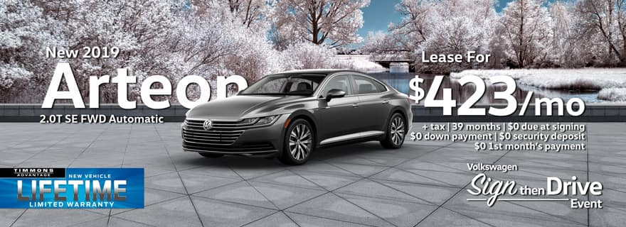 Special Holiday Lease offer on a New 2019 Volkswagen Arteon 2.0T SE at Timmons Long Beach