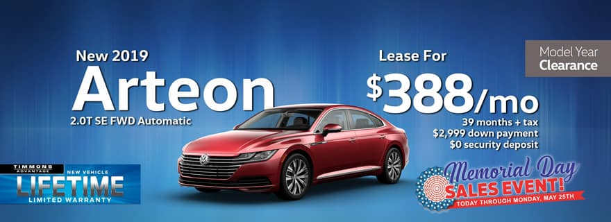 Special Memorial Day Holiday Lease offer on a New 2019 Volkswagen Arteon 2.0T SE at Timmons Long Beach