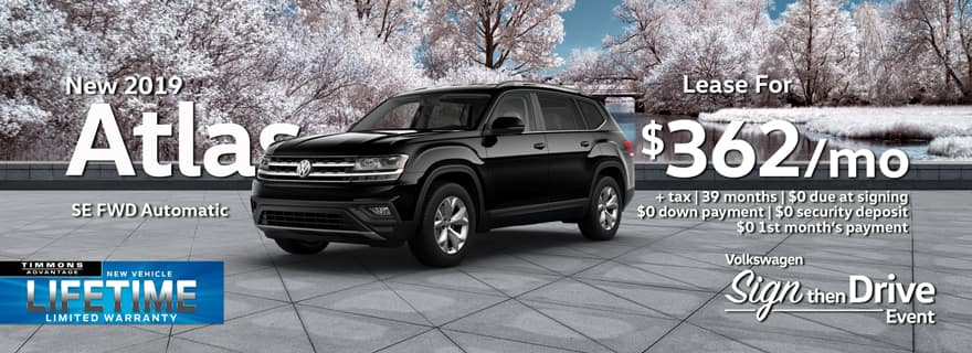 Special holiday lease offer on 2019 Atlas at Timmons Volkswagen Long Beach