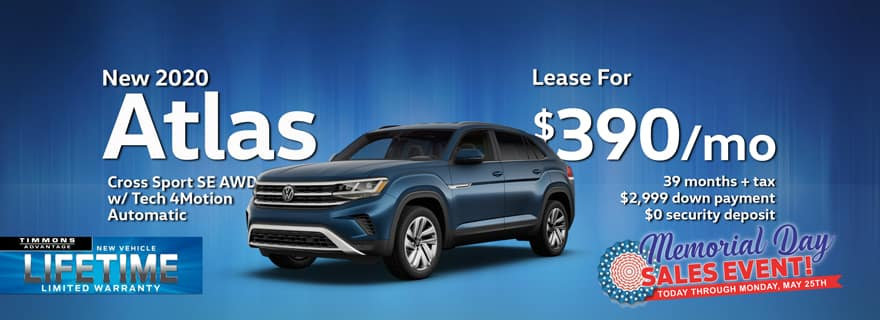 Special Memorial Day Holiday lease offer on 2020 Atlas Cross Sport at Timmons Volkswagen Long Beach