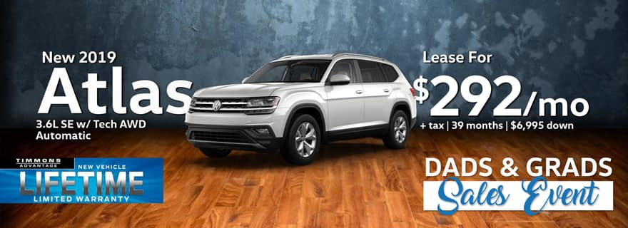 Lease a 2019 Volkswagen Atlas SE AWD for only $292/Month at Timmons Volkswagen!