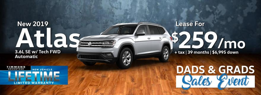 Lease a 2019 Volkswagen Atlas SE with Tech FWD for only $259/Month at Timmons Volkswagen!