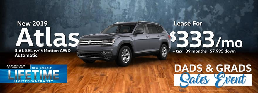 Lease a 2019 Volkswagen Atlas SEL 4Motion AWD for only $333/Month at Timmons Volkswagen!