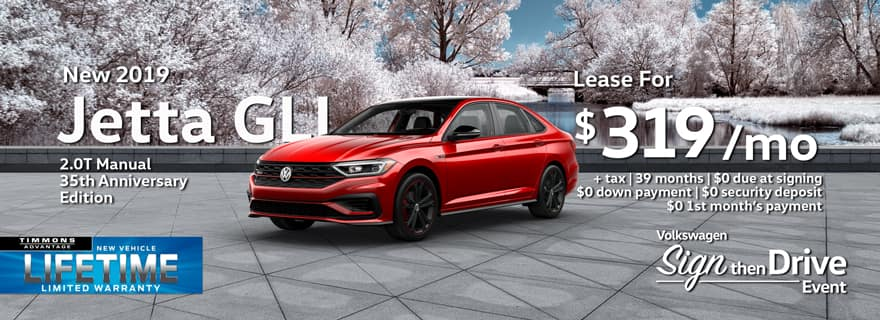 Special Holiday Lease offer on a 2019 35th Anniversary Edition Volkswagen Jetta GLI at Timmons Long Beach