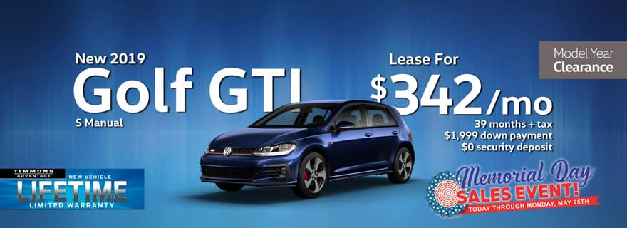 Special Memorial Day Holiday Lease offer on a 2019 Volkswagen Golf GTI at Timmons Long Beach