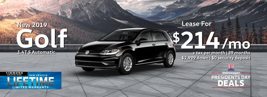 Special Presidents Day Lease offer on a New 2019 Volkswagen Golf S at Timmons Long Beach