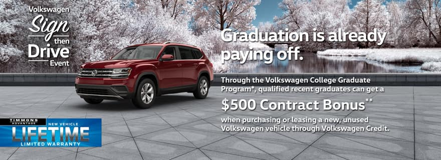 Special Holiday Offer for College Grad Event at Timmons Volkswagen Long Beach