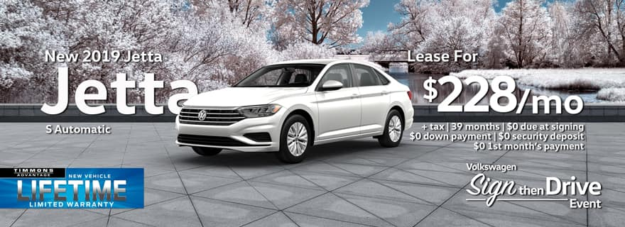 Special Holiday Lease offer on 2019 Volkswagen Jetta at Timmons Long Beach
