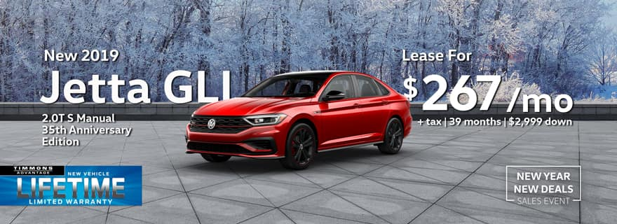 Special Lease offer on a 2019 35th Anniversary Edition Volkswagen Jetta GLI at Timmons Long Beach