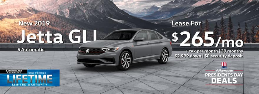 Special Presidents Day Lease offer on a 2019 Volkswagen Jetta GLI at Timmons Long Beach