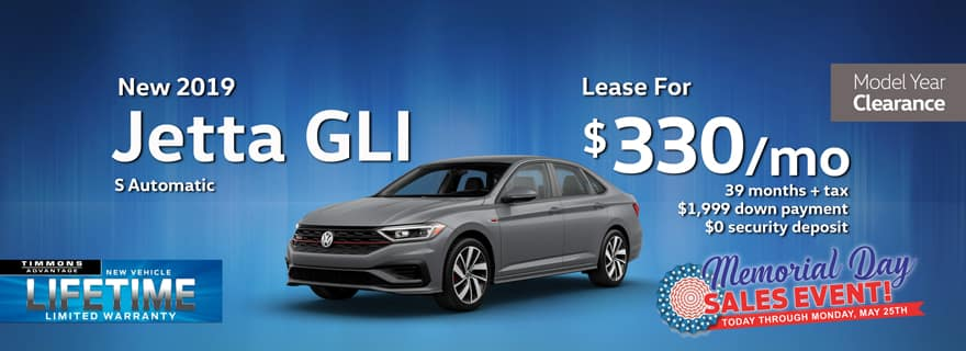 Special Memorial Day Holiday Lease offer on a 2019 Volkswagen Jetta GLI at Timmons Long Beach
