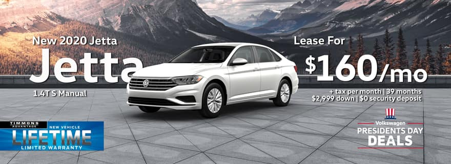 Special Presicents Day Lease offer on 2020 Volkswagen Jetta at Timmons Long Beach