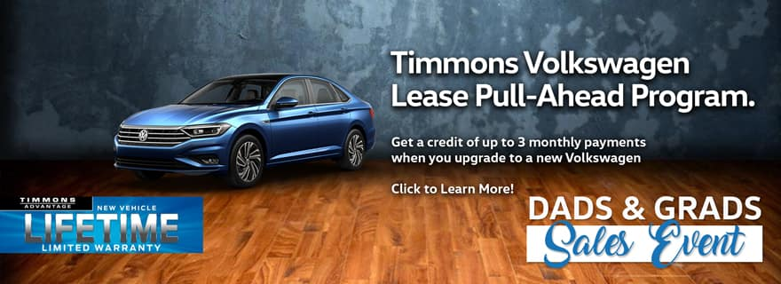 Get a credit of up to 3 monthly payments when you upgrade to a new VW with Timmons Volkswagen Lease Pull-Ahead Program!
