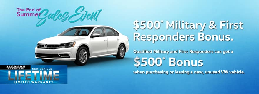 Military and First Responders Offer at Timmons Volkswagen Long Beach