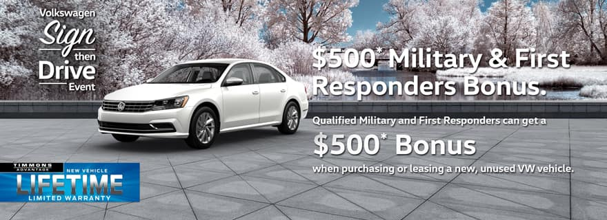 Special Holiday Offer for Military and First Responders Offer at Timmons Volkswagen Long Beach