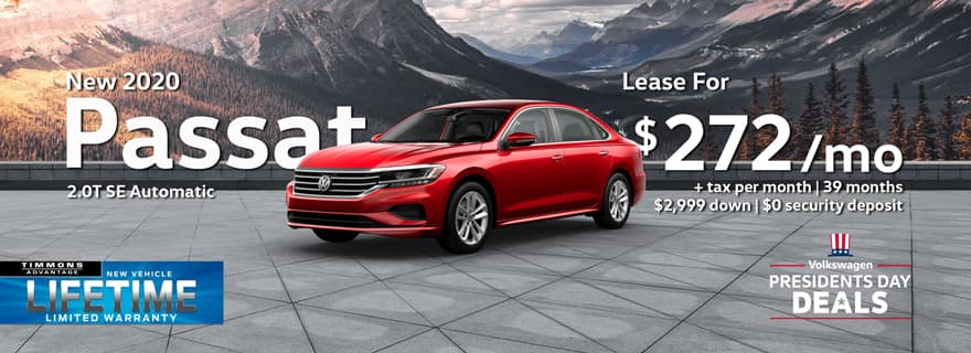 Special Presidents Day Lease offer on a 2020 Volkswagen Passat at Timmons Long Beach