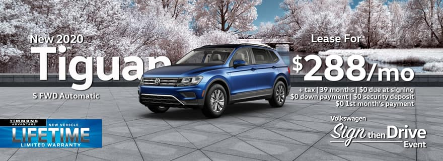 Special holiday Lease on a 2020 Tiguan S at Timmons Long Beach