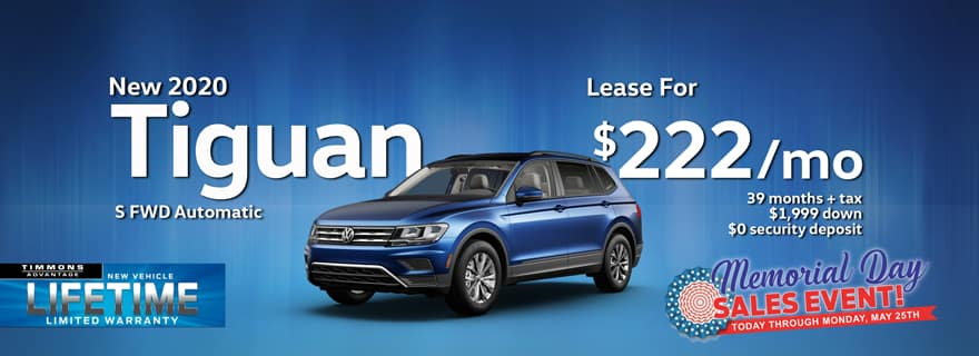 Special Memorial Day Holiday Lease on a 2020 Tiguan S at Timmons Long Beach