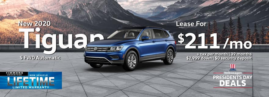 Special Presidents Day Lease on a 2020 Tiguan S at Timmons Long Beach