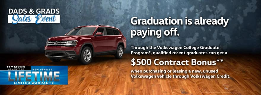 Qualified recent college graduates can get a $500 Contract Bonus when purchasing a new VW through Volkswagen Credit!