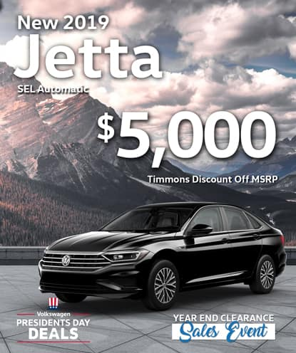 $5,000 Timmons Discount off MSRP on 2019 Jetta SEL