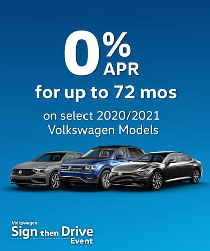 0% APR for 72 months on select new 2020 and 2021 Volkswagen Models*