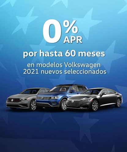 0% APR por 60 meses en los nuevos modelos Volkswagen 2021. *