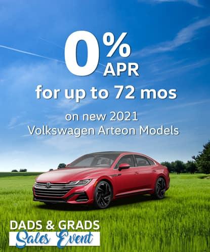 0% APR for 72 months on new 2021 Volkswagen Arteon Models*