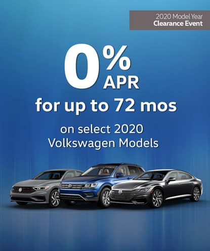 0% APR for 72 months on select new 2020 Volkswagen Models*