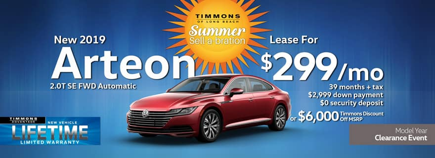 Special Lease offer on a New 2019 Volkswagen Arteon 2.0T SE at Timmons Long Beach