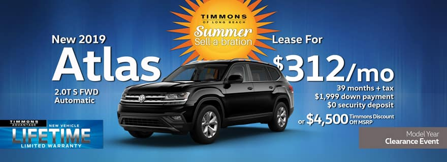 Special lease offer on 2019 Atlas at Timmons Volkswagen Long Beach