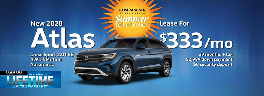 Special lease offer on 2020 Atlas Cross Sport at Timmons Volkswagen Long Beach