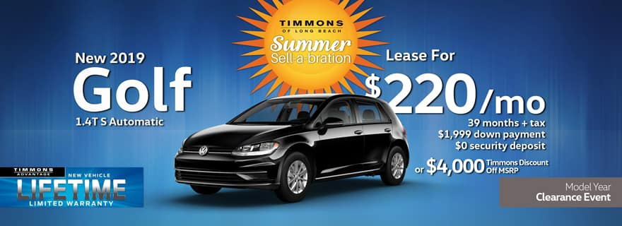 Special Lease offer on a New 2019 Volkswagen Golf S at Timmons Long Beach