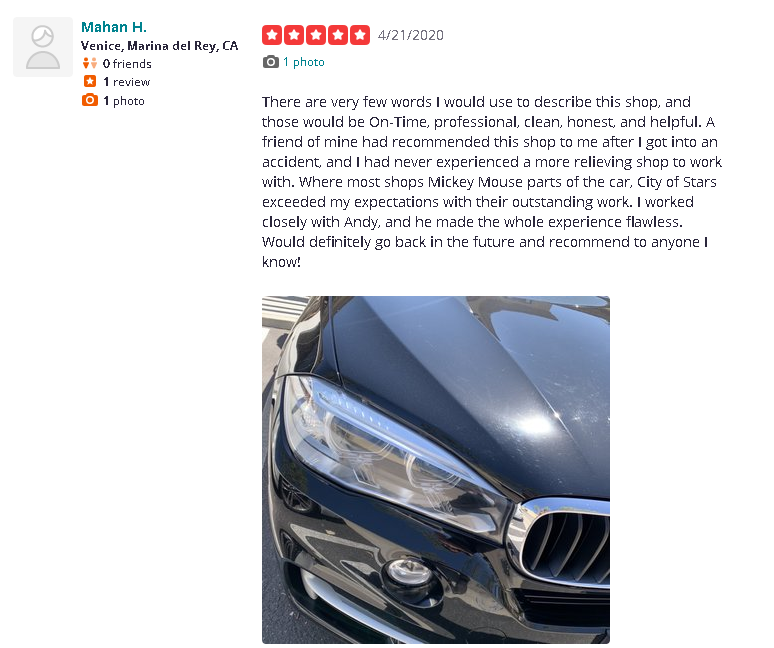 Great reviews of City of Stars Collision Repair through Timmons Long Beach