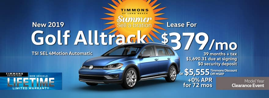 Special lease offer on 2019 Golf Alltrack SE 4Motion at Timmons Volkswagen Long Beach