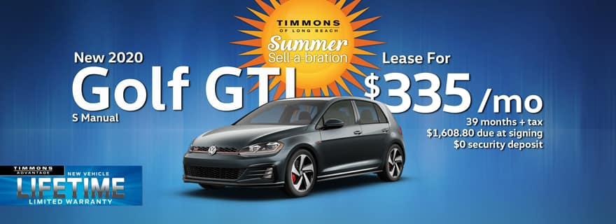 Special Lease offer on a 2020 Volkswagen Golf GTI at Timmons Long Beach