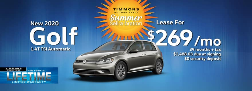 Special Lease offer on a New 2020 Volkswagen Golf at Timmons Long Beach
