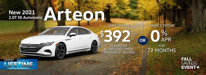 Special lease offer on 2021 Arteon at Timmons Volkswagen Long Beach