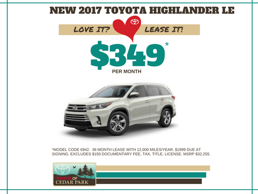 New 2017 Highlander LE