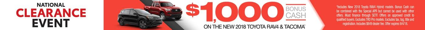National Clearance Event $1,000 Bonus Cash