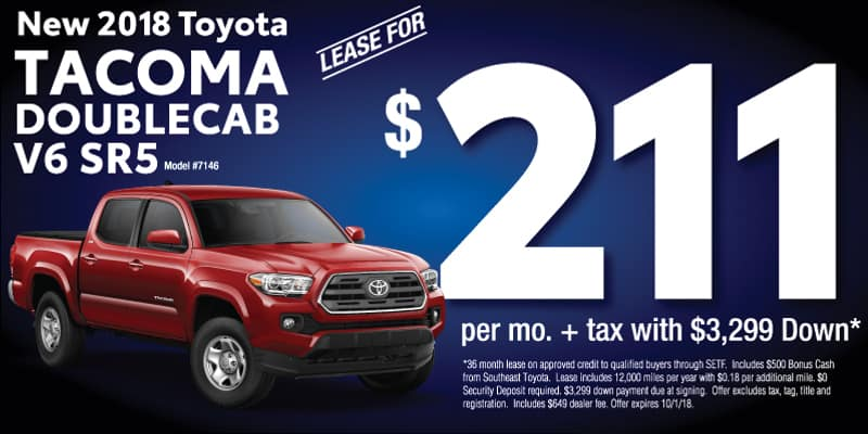 new 2018 Tacoma September lease for $211 per month