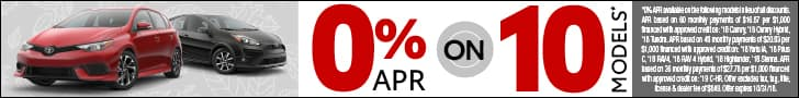 0% APR on 10 New Toyotas
