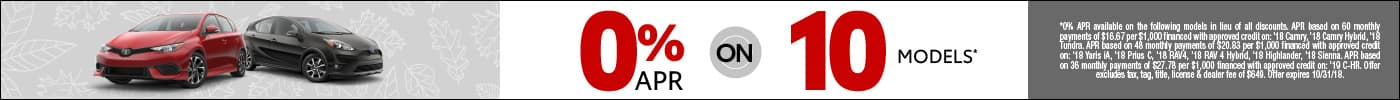 0% APR on select New Toyotas