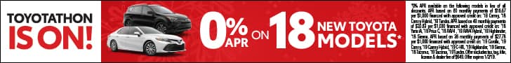 Toyotathon is on with 0% APR on 18 new Toyota models