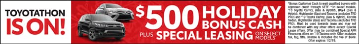 Toyotathon is on with $500 Bonus Cash + Special Financing on select New Toyotas
