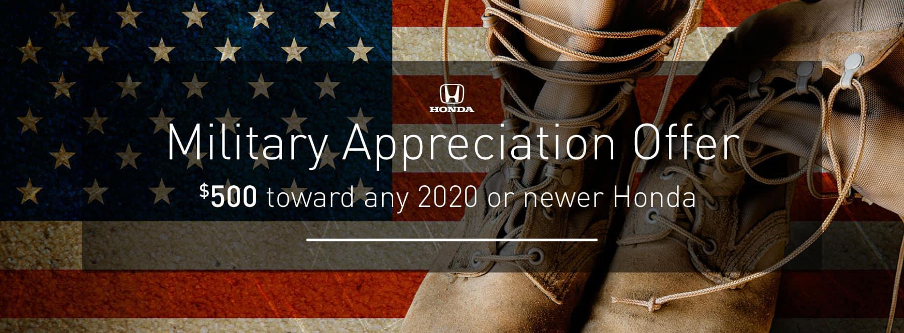 Honda Military Offer - $500 toward any 2020 or newer Honda