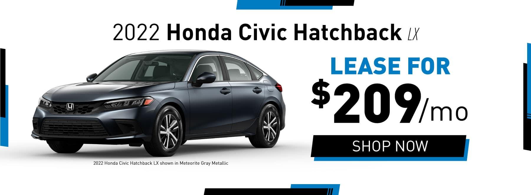 2022 Honda Civic Hatchback EX Lease for $209/mo